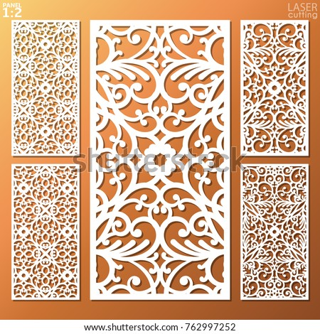 Ornamental panels template set for cutting. May be use for laser cutting. Lazer cut card. Silhouette pattern. Cutout paperwork. Cabinet fretwork panel. Lasercut metal panel. Wood carving