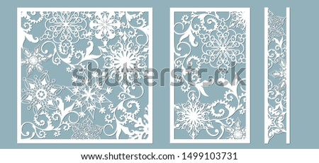 Ornamental panels with snowflake pattern. Laser cut decorative lace borders patterns. Set of bookmarks templates. Image suitable for laser cutting, plotter cutting or printing. serigraphy.