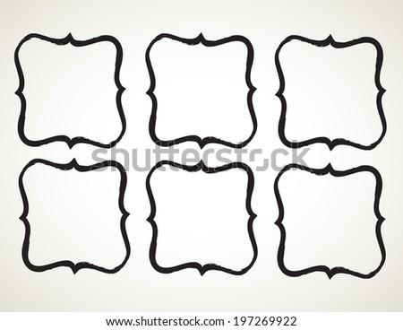 ornamental penmanship decorative frame, hand drawn