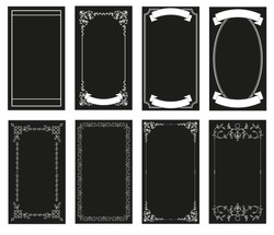 Ornamental retro style frames, banners for text and blank space for tarot cards, invitations, weddings, celebrations.