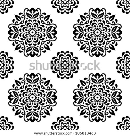 Ornamental round floral background. Seamless pattern for your design wallpapers, pattern fills, web page backgrounds, surface textures.
