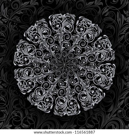 Ornamental round floral lace pattern.