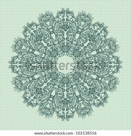 Ornamental round FLORAL lace pattern.  blue gray