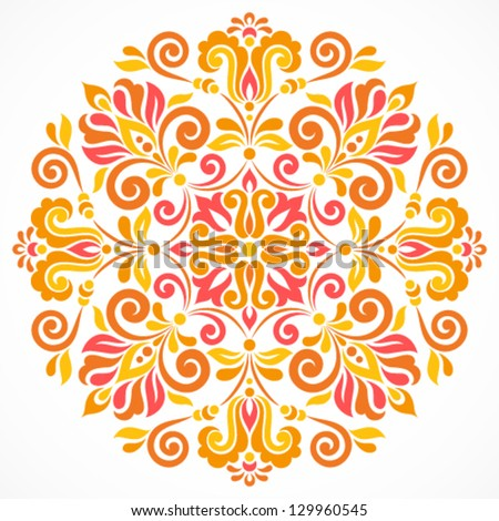 Ornamental round floral pattern. Colorful ornament with vintage elements