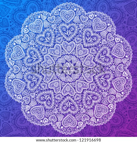 Ornamental round hearts pattern, circle background with details in Indian style