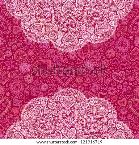 Ornamental round hearts pattern, red hearts background with details in Indian style