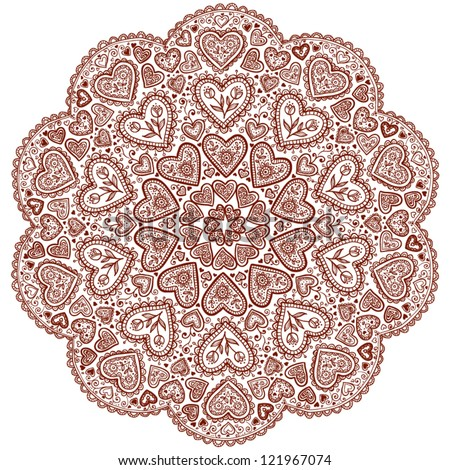 Ornamental round hearts pattern with details in Indian style