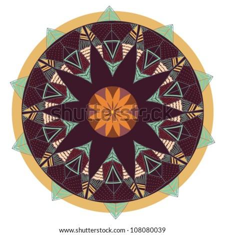 Ornamental round lace. Aztec style ornament