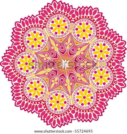 ornamental round lace flower - stock vector