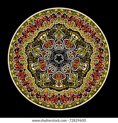 ornamental round pattern, flower decoration on black