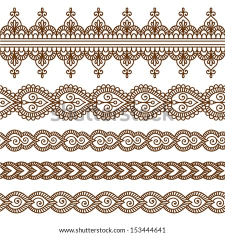 Ornamental seamless borders Vector set with abstract floral elements in indian style