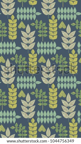 Ornamental seamless pattern with leaf and flowers. Cute print in scandinavian style.The image is made in the style of spring things. Abstract background. Ornamental, traditional, simple.