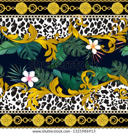 Ornamental seamless pattern with leopard skin, chain, tropical leaves and baroque elements. Vector illustration. Animal print
