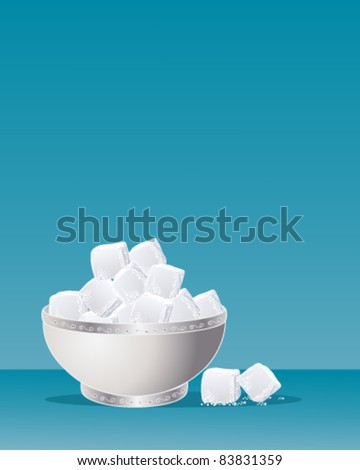 ornamental silver sugar bowl full of sugar cubes on blue, vector illustration in eps 10 format