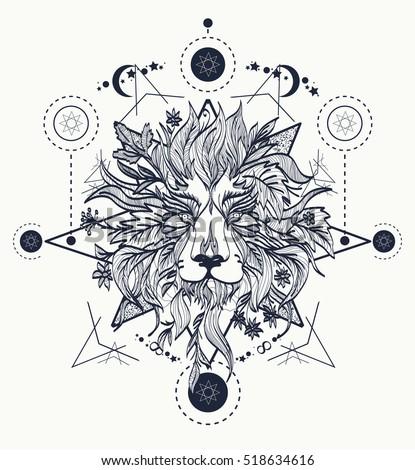 Ornamental Tattoo Lion Head. Alchemy, religion, spirituality, occultism art, coloring books.