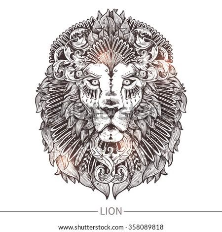 ornamental tattoo lion head