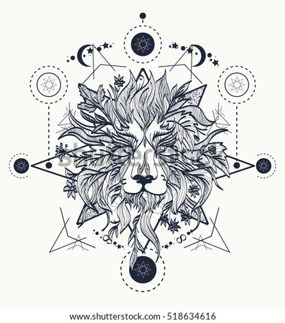 Ornamental Tattoo Lion Head. Mystic Lion sketch tattoo art. Alchemy, religion, spirituality, occultism, tattoo lion art, coloring books.