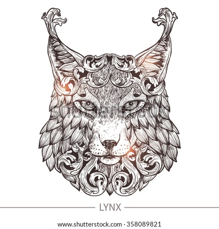 ornamental tattoo lynx head highly detailed abstract hand drawn style stock vector illustration. Black Bedroom Furniture Sets. Home Design Ideas