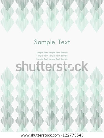 Ornamental template for design with sample text. Text background with abstract linear geometric pattern