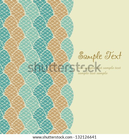 Ornamental text background. Template for design greeting cards, invitations, covers, package with plated pattern and place for your text