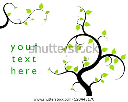 Ornamental tree illustration with green leaves. Natural background with copyspace for your text.