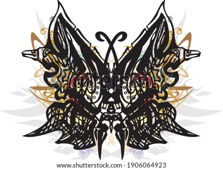 Ornamental unusual butterfly wings colorful splashes. Butterfly silhouette with feather elements and colored floral splashes for tattoos, postcards, prints on T-shirts, textiles, wallpaper, etc.