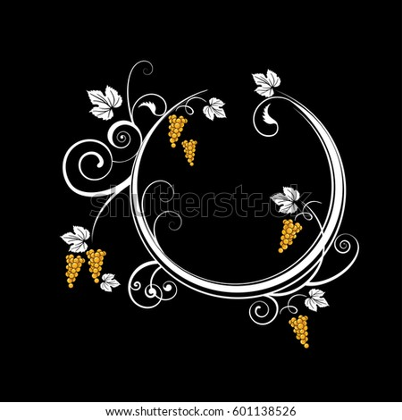 Ornamental Vector Illustration of a wreath with bunches of white grape and swirls