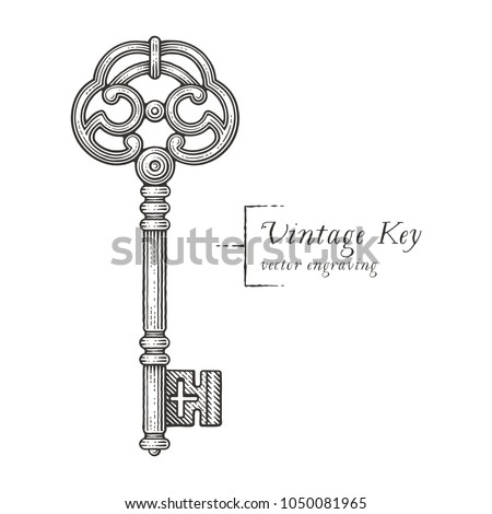 Ornamental vintage key with forging. Hand drawn engraving style illustrations. ストックフォト ©