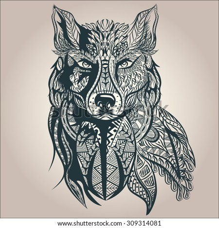 ornamental vintage wolf