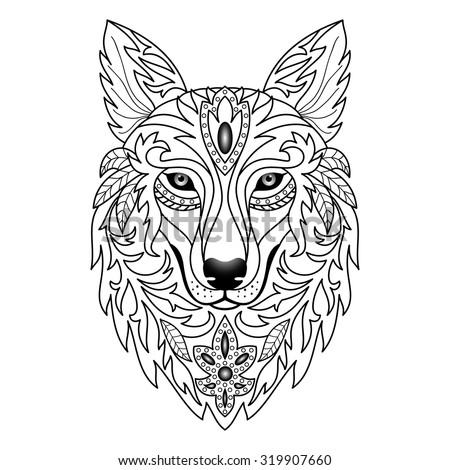 ornamental wolf vector