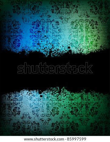 ornamented background with grungy banner for text. eps10 vector