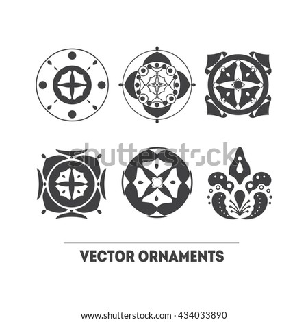 Ornaments decorative set. Geometric circle element.  #434033890