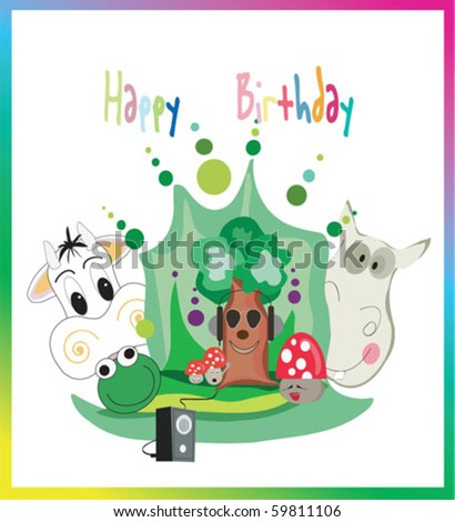 ornate birthday card with tree and animals