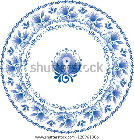 Ornate blue plate in traditional style Gzhel (a brand of Russian ceramics, painted with blue on white).