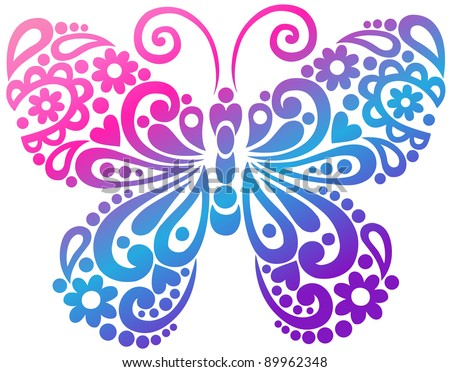 Ornate Butterfly Swirly Silhouette Tattoo Vector Illustration Design Element