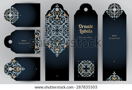 Ornate cards in oriental style. Bright Eastern floral decor on dark backdrop. Template vintage frame for greeting card and wedding invitation. Vector labels with place for your text.