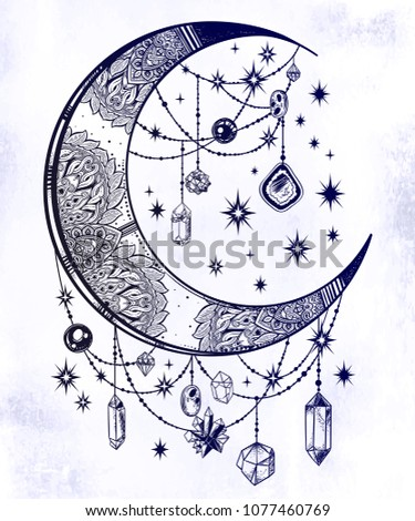 Ornate crescent boho moon with beautiful gemstone pendants and stars. Decorative ornament in oriental style. Isolated vector illustration. Hand drawn tattoo design, astrology, alchemy, magic symbol.