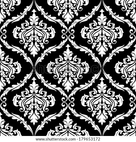 Ornate damask arabesque design with floral motifs in a seamless black and white pattern in square format suitable for fabric and wallpaper