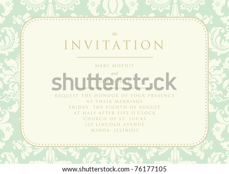 Ornate damask background. The Invitation - stock vector