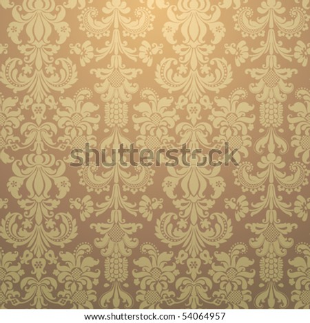 Ornate damask Seamless Gold Wallpaper