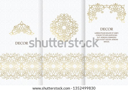 Ornate decor, border for invitation, card, logo design, label, badge, tag. Vector golden element floral illustration. Set wedding invitations flourishes ornaments cards.