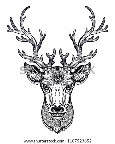 Ornate Deer head with beautiful antlers, decorated with patterns and sacred eye. Hand drawn vintage illustration. Isolated vector art for spirit of nature and wilderness. Linear tattoo animal.