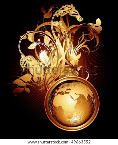 Ornate detailed background with Earth globe