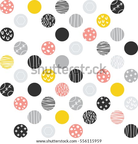 ornate dotted pattern. vector seamless pattern with hand drawn doodle dots