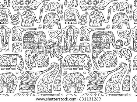 ornate elephants  seamless