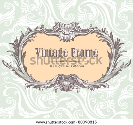 Ornate engraved vintage decorative vector frame.  Edited, all parts separately