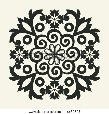 ornate floral decoration, vector design element