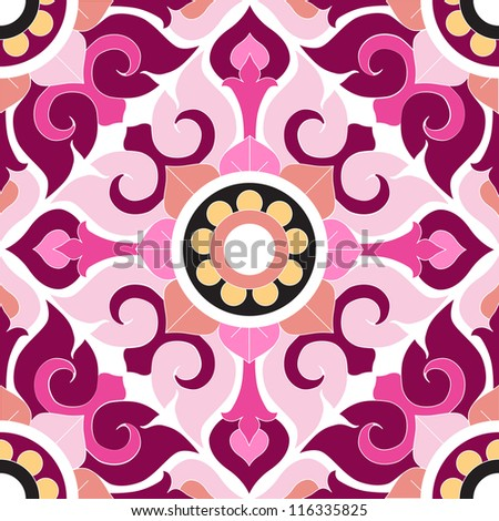 Ornate floral seamless texture, endless pattern with flowers elements. Seamless pattern can be used for wallpaper, pattern fills, web page background