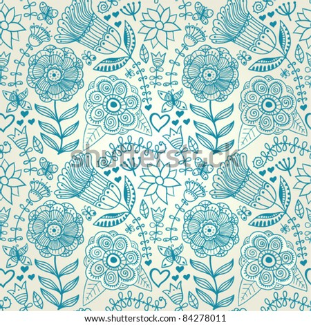 Ornate floral seamless texture, endless pattern with flowers. Seamless pattern can be used for wallpaper, pattern fills, web page background, surface textures, eps10