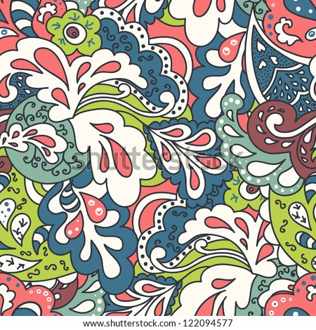 Ornate floral seamless texture in vector. Endless floral pattern.